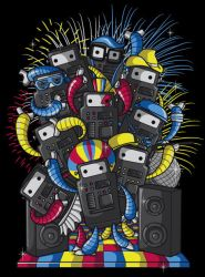 Dancing Robots by recycledwax