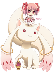 Chibi Madoka and Kyubey by DAV-19