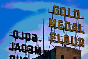 Gold Metal Sign by mcklingseisen