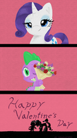 Happy Valentine's Day Spike and Rarity by Imaplatypus