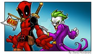 Deadpool Vs Joker by badgerlordstudios