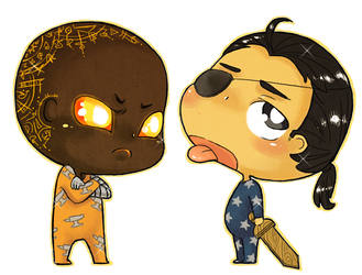 Chibi Darvellan and Yom commission by MiniLeiProductions
