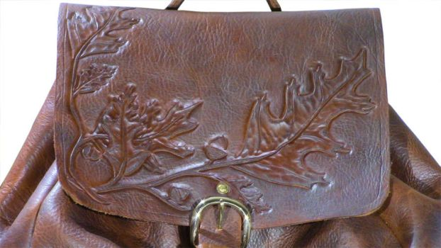 Tooled Leather Backpack: closeup 1 by DanTheLefty