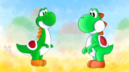 Mario Tribute Anim. Sketch #5: Yoshi Old and New by Jazzy-Book