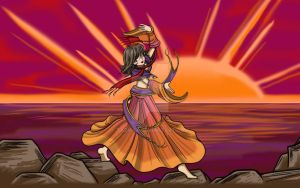 Anime Gypsy at Sunset by Tazmaa