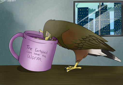 The Early Bird can have the Worm - raffle prize by StoryBirdArtist