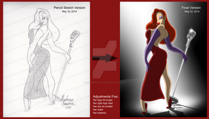 Sketch and Final Versions of Jessica Rabbit by ColorfulArtist86