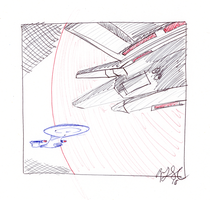 Enterprise and Tamarian Ship by AdamTSC