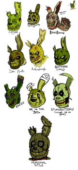 The Many Faces of Springtrap (Style Experiment) by Godzilla2003