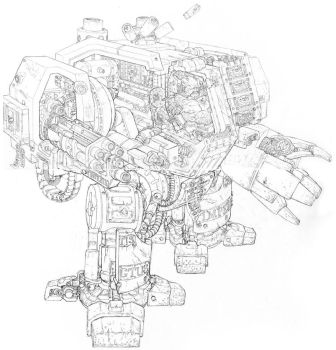 Sketch- 40K Dreadnought Cross-section by PenUser