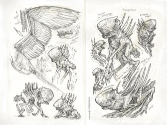 Slightly Xenomorph inspired creatures by MIKECORRIERO