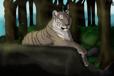 [Coloured sketch] Resting Tiger by TheSketchingGamer