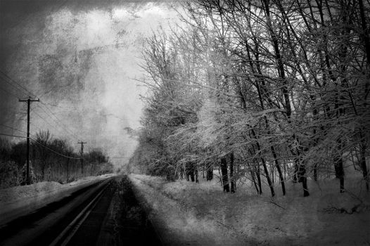 snowy road to nowhere by shinius