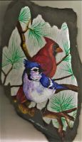 Birds on Slate by Batman4art