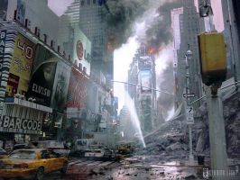 Ruined Times Square by PeteAmachree
