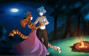 Moonlit Tiger Dance by Twokinds