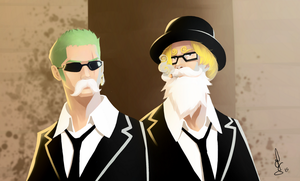 Zoro and Sanji incognito by Schoyhan