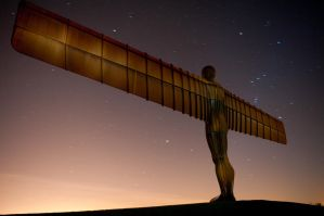 Angel of the North at night by paradoxofminds