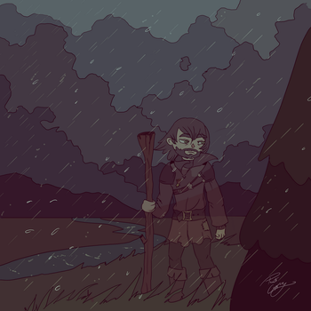 Ghost in the Rain [colouring page included] by PrivateCoppery