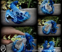 Handmade OOAK Blue Dragon with Quartz Cluster- SOL by SonsationalCreations