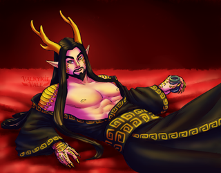 Hot Dragon Dad with tea by ValkyrieVale