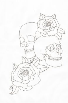 Skulls and Roses Outline by lou987