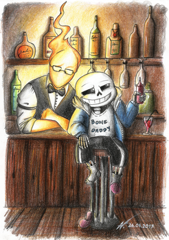 At the bar - Grillby and Sans by Wojak1991