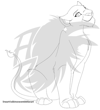 SittingLioness-LineArt-500 Points-READ DESCRIPTION by albinoraven666fanart
