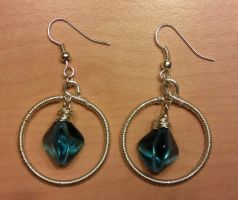 first wire earrings with blue glass pyramids by syn-O-nyms