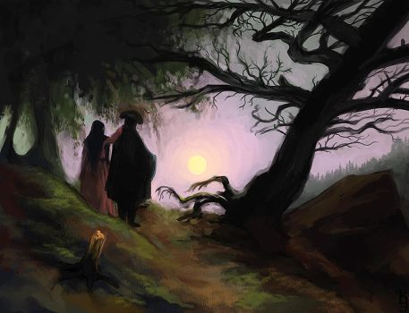 Study of Man and Woman Contemplating the Moon by Birgitte-Gustavsen