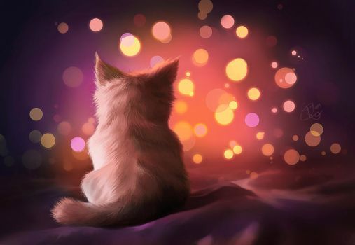 night cat by clefchan