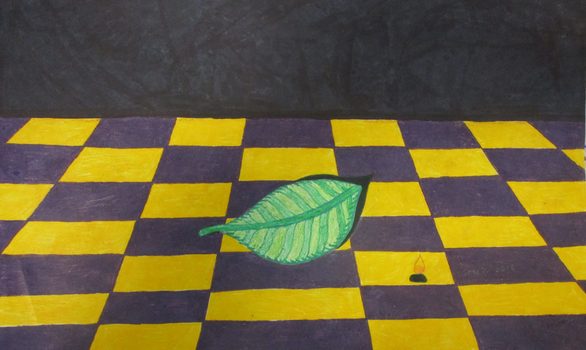 Leaf in A Checkered Background by BorisFedorov