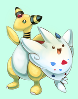 Ampharos and Togekiss by Joltik92