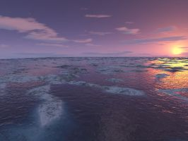 Sunset with snowy water by darthsabe