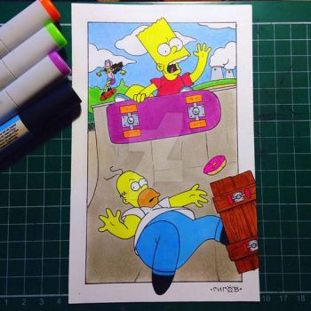 simpsons postcard illustration by shinigamizachi
