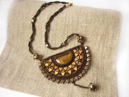 'Inti' bead embroidered necklace by nikkichou