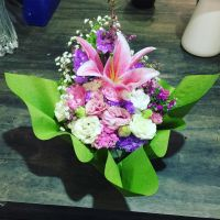 Pink lily arrangement with curved paper design by rattree