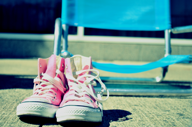 Lounge Chair and Pink Shoes by Luckyebbie