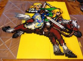 Legend of Zelda: Link, Zelda and Epona Perler Bead by Amber--Lynn