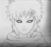 Gaara Letf hand Drawing by annareru