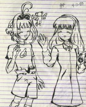 Sakura and Tomoyo by pawnqueen