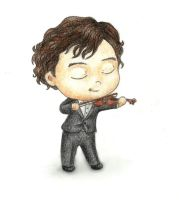 Chibi Sherlock plays the violin by Xijalle