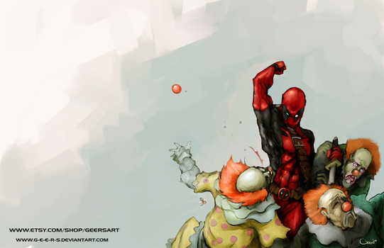 Deadpool and Clowns by DarrenGeers