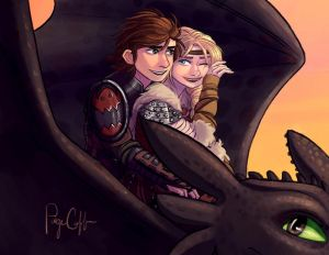 HTTYD - Sunset Ride by paigemichael