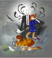 Slender man, velma, and daphne drawing (Colored) by electronicdave