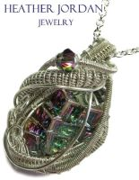 Wire-Wrapped Full-Spectrum Bismuth Crystal and SS by HeatherJordanJewelry