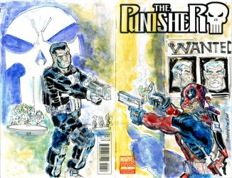 Sketch Cover Punisher vs Dedpool by mannycartoon