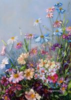 Wildflowers, ribbon embroidery picture by TetianaKorobeinyk