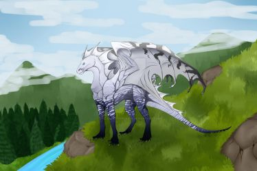 Dragon on a hill by FallenOutOfHeaven