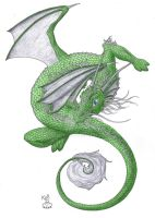 Emerald Oriental Dragon by Scellanis